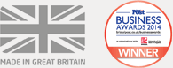 the MIGB logo with the text, made in great britain, next to the BA logo with the text, business awards 2014 winner